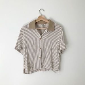 Vintage Striped Button Down T-Shirt